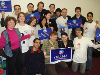 A group of Canadians who went to the United States to help get Barack Obama elected, at the Everett, Washington field office before the Washington caucus. (Andriy Mischenko)