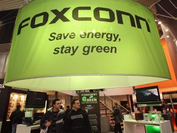 The stand of Taiwanese electronics giant Foxconn at the CeBIT technology fair on March 4 in Hanover, Germany. (Sean Gallup/Getty Images)