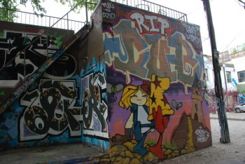 A colourful display of graffiti on a wall in a downtown Toronto alley. The city's new graffiti management plan calls for enforcement against illegal graffiti while providing more support for graffiti as art. (Snow Mei/ The Epoch Times)