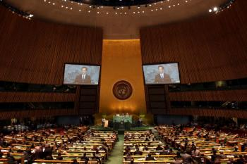 Chinese regime leader Hu Jintao addresses the United Nations General Assembly at the U.N. headquarters on Wednesday in New York City.  (Rick Gershon/Getty Images)