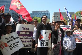 Tamil protesters rally in front of the Ontario parliament in Toronto on Wednesday. The activists, who have taken Toronto by storm in recent weeks, are calling for a ceasefire in Sri Lanka. They also express support for the Tamil Tigers, which Canada consi (Jason Loftus/The Epoch Times)