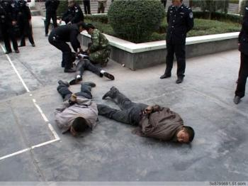 Picture shows protesters being arrested. (Provided by mainland China Internet users)