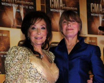 Loretta Lynn and Sissy Spacek pose in the press room at the 44th Annual CMA Awards at the Bridgestone Arena on November 10, 2010 in Nashville, Tennessee. (Larry Busacca/Getty Images)