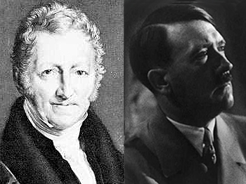 18th century clergyman Thomas Malthus published many of the ideas that Hitler incorporated into his schemes for a 'master race'. (Malthus-Public domain; Hitler-Library of Congress)