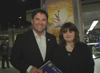 MP Don Davies and his daughter at the Shen Yun Performing Arts show at Vancouver's Queen Elizabeth Theatre on Monday (NTDTV)