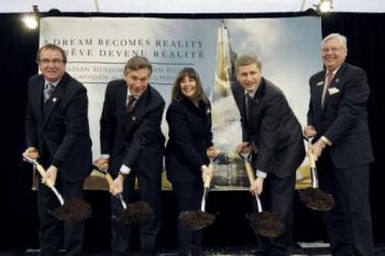 BREAKING GROUND: Winnipeg Deputy Mayor Justin Swandel; Manitoba Premier Gary Doer; National Campaign Chair, Friends of the Canadian Museum for Human Rights, Gail Asper; Prime Minister Stephen Harper; Chair of the Canadian Museum for Human Rights Board Arni Thorsteinson. (CMHR)