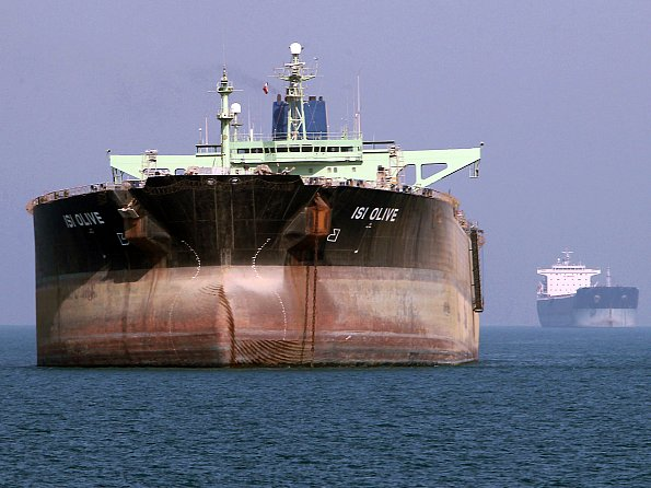 An oil tanker is seen off the port of Bandar Abbas, southern Iran, on July 2, 2012. (Atta Kenare/AFP/GettyImages)