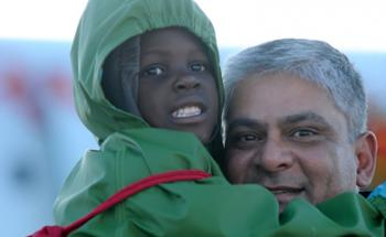 A young boy on the third flight of orphaned Haitian children to arrive in Canada, Jan. 30, 2010, since the Jan. 12 earthquake in Haiti. (Photo courtesy of the Citizenship and Immigration Canada Web site)