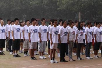 Students at Beijing Foreign Languages Institute drill for the parade. (The Epoch Times)