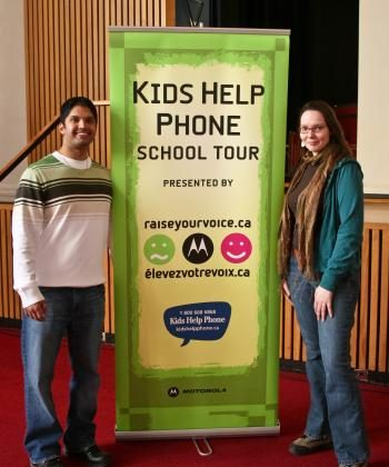 Kids Help Phone counsellors Duane and Sara spoke to students at Leaside High School in Toronto on February 24, 2009. This year's Kids Help Phone School Tour presented by Motorola's Raise Your Voice program visited 30 schools across Canada.  (Virginia Middleton)
