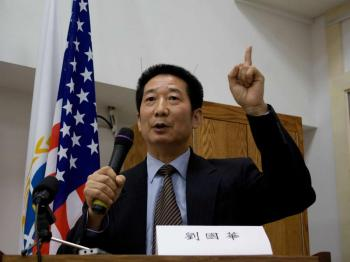 Liu Guohua, a long time supporter of freedom in China and the tuidang movement, spoke at the forum in Flushing.  (Matthew Robertson/The Epoch Times)