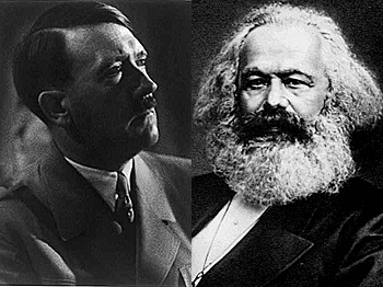 Adolf Hitler and Karl Marx are usually thought of as representing the two ends of the political spectrum, but are actually more similar to each other. (Adolf Hitler—Library of Congress; Karl Marx—Public Domain)