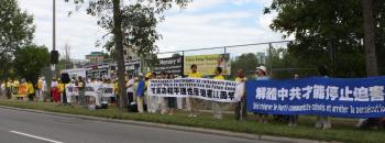 Falun Gong practitioners and supporters hold a protest in front of the Chinese embassy in Ottawa in July 2010 to mark 11 years since the start of the persecution of their faith by the Chinese communist regime on July 20, 1999. (Donna He/The Epoch Times)