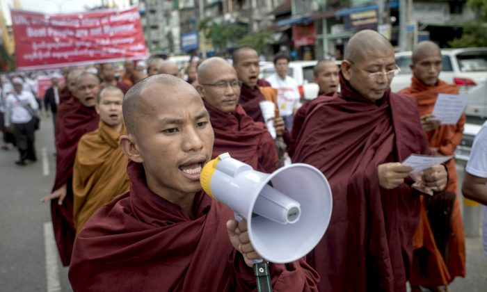 Buddhist monks demonstrate against the UN and the return of Rohingya Muslims, in Yangon, Burma, on May 27, 2015. (Jonas Gratzer/Getty Images)