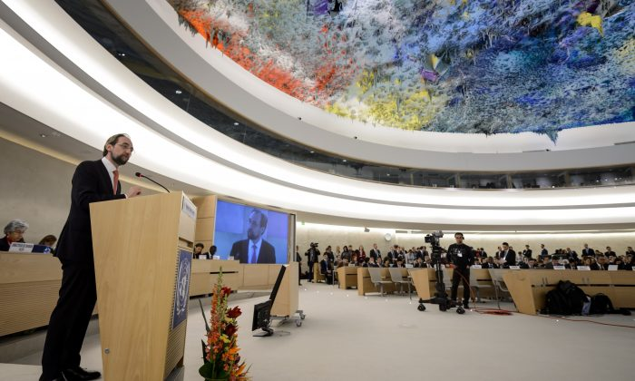 UN High Commissioner for Human Rights Zeid Ra'ad Al Hussein gives a speech on March 2, 2015 at the opening day of the UN Human Rights council session at the United Nations offices in Geneva. (Fabrice Coffrini/AFP/Getty Images)