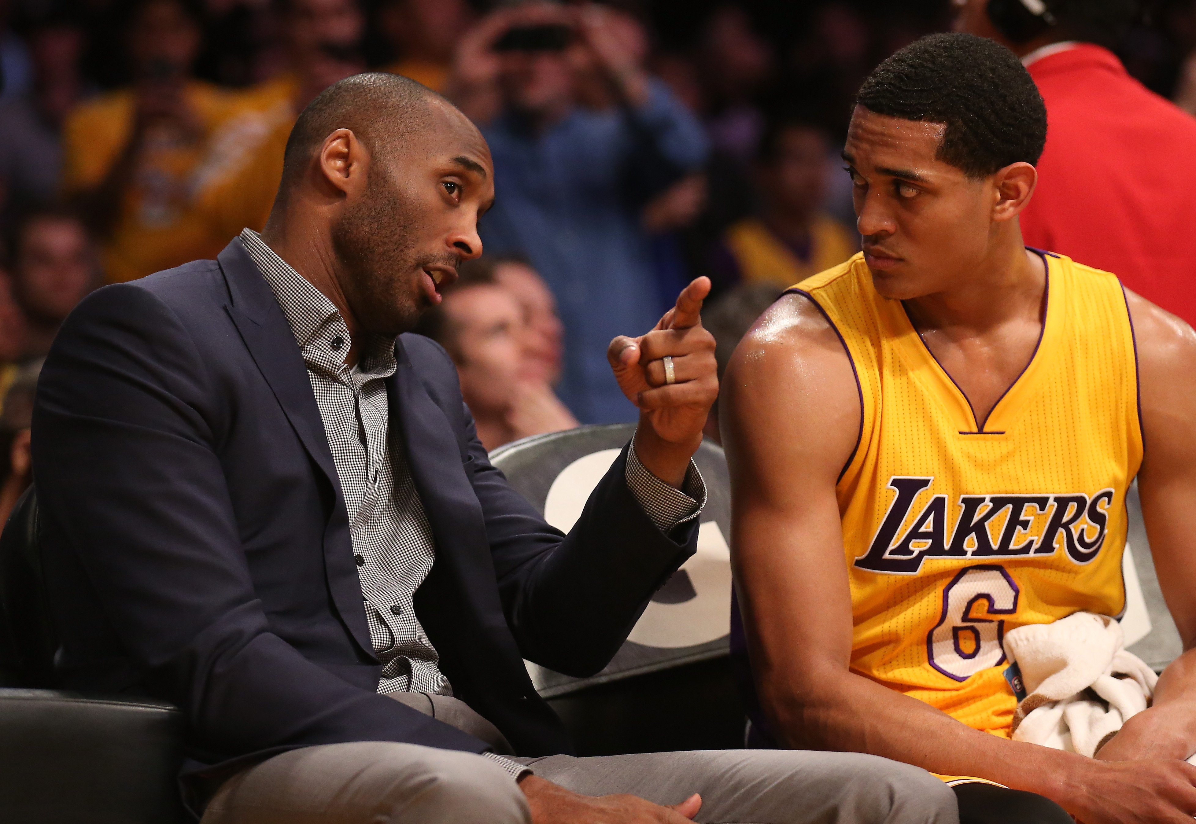 ddee5f88a95 Kobe Bryant  24 of the Los Angeles Lakers talks on the bench with Jordan  Clarkson