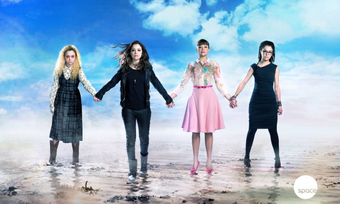 Some of the many characters Tatiana Maslany plays each week on Orphan Black: (L-R) Helena, Sarah, Alison, and Cosima. Maslany has finally been nominated for an Emmy, much to the delight of her fans. (Courtesy of Space channel)