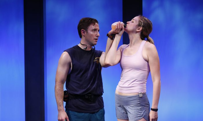 "(L–R) J.J. Kandel and Clea Alsip in ""10K,"" written and directed by Neil  LaBute, as part of Summer Shorts 2015.  The work asks just how far you can go without going too far. (Carol Rosegg)"