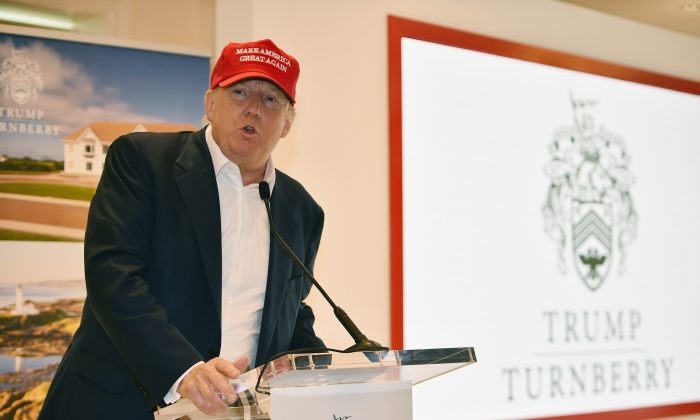 Republican Presidential Candidate Donald Trump visits his Scottish golf course Turnberry on July 30, 2015 in Ayr, Scotland. Donald Trump answered questions from the media at a press conference. (Jeff J Mitchell/Getty Images)