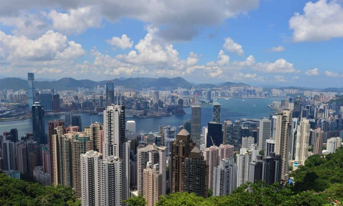 View overlooking Victoria Harbour from The Peak Galleria on July 31, 2015. (Bill Cox/Epoch Times)