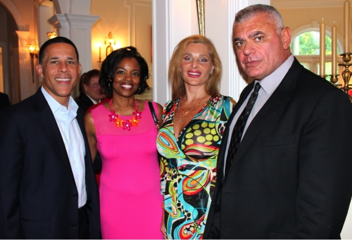 (L-R) Former Maryland Lt Gov Anthony Brown, his wife, Karmen Brown, Epoch Times' Alessandra Gelmi and Tony Rozakis at Potomac, Maryland, on July 25. (Travis Holler)