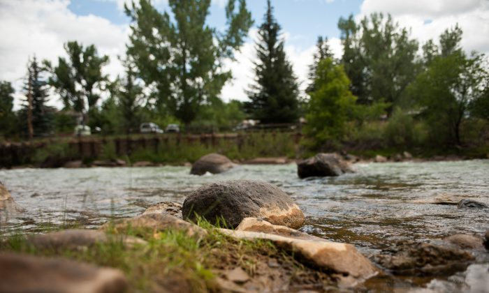 Residue from the release of nearly 3 million gallons of mine wastewater sits on rocks in the Animas River  in Durango, Colorado, on August 11, 2015. New Mexico officials lifted the water bans previously placed on the Animas and San Juan Rivers in New Mexico. (Photo by Theo Stroomer/Getty Images)