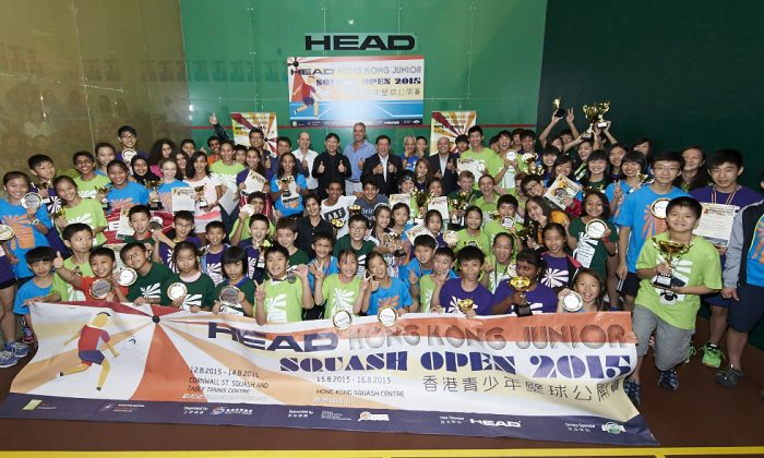 A group photo following the prize giving at the Head Hong Kong Squash Open 1015 on Sunday August 16, 2015. (Hong Kong Squash Association)
