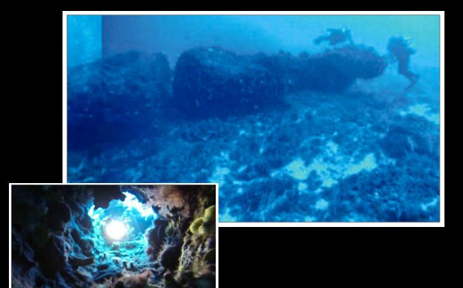 A monolith found submerged between the coasts of Sicily and Tunisia, including a close-up of a hole in the monolith. (Science Direct)