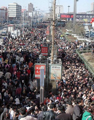 Shijia village, Hebei Province: a sea of people outside an employment opportunity site (AFP/Getty Images)