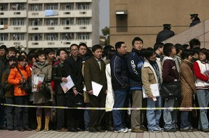 Shanghai: long line of people waiting to apply for jobs (Getty Images)
