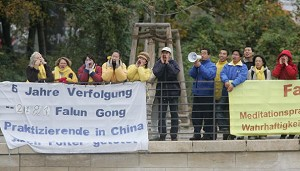 Members of Falun Gong protest outside the Chancellery while Chinese President Hu Jintao was meeting inside with German Chancellor Gerhard Schroeder November 11, 2005 in Berlin, Germany. (Sean Gallup/Getty Images)