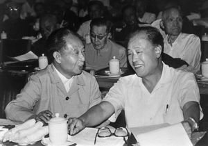 Hu Yaobang (L, 1915-89) and of Zhao Ziyang, Chinese Communist Party (CCP) general secretary. Purged during the Cultural Revolution, Hu Yaobang was elected Chinese Communist party leader in 1981 and dismissed in 1987 for his relaxed handling of wave of student unrest. His death triggered an unprecedented wave of pro-democracy demonstration in May 1989. (STR/AFP)