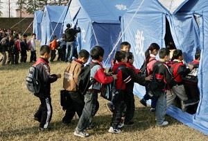 Temporary schools are set up in tents after an earthquake hits Jiangxi Province. (AFP/Getty Images)