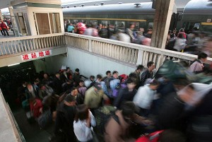 A subway station in Guangzhou City, January 9, 2006. Chinese travelers are rushing to buy adult diapers, as public toilet availabilty is scarce during the peak Spring Festival travel season. (Getty Images)