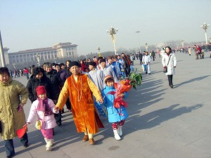 The group of nuns left the Tiananmen Square peacefully. (The Epoch Times)