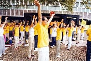 Falun Gong practitioners performing the Falun Gong exercises. (Clearwisdom.net)