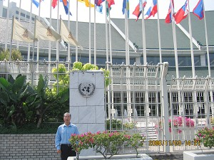 Mr Jia Jia in front of the U.N. High Commissioner for Refugees (UNHCR) Office in Thailand. (The Epoch Times)