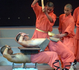 Shaolin monks from Henan province, China, show their skill during a performance in Jakarta. (Adek Berry/AFP/Getty Images)