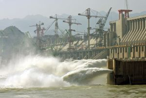 The Three Gorges Dam crossing over the Yangtze River in Yichang city in China's central province Hubei, nearing completion.  (Liu Jin/AFP/Getty Images)