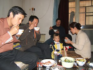 The Gao family at Liu Jingsheng's home.  (The Epoch Times)