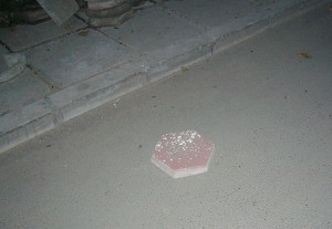 The brick the agents used to hit Gao. (The Epoch Times)