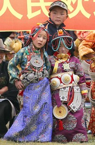 Tibetan children dressed in traditional clothing. (Liu Jin/AFP/Getty Images)