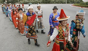 Tibetan dressed in traditional costume in Golmud. (Peter Parks/AFP/Getty Images)