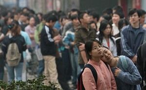 University students from Nanjing city, China. The Chinese government is not subsidizing education costs enough so that rising tuition fees make it impossible for the average student to afford to get a higher education. (Getty Images)