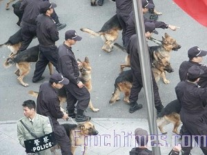 Police use canines to prevent strikers' from walking off the job. (The Epoch Times)