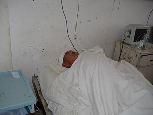 Hospitalized elderly villager. (Photo provided by villager)