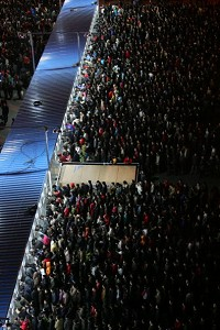 An aerial view of people buying tickets in Beijing. (Getty Images)