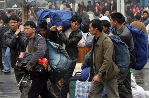 Labor workers preparing to return home for the New Year in Shanghai. (Getty Images)