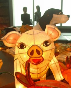 Taipei, Taiwan-A pig-shaped lantern is displayed in the word's tallest building, Taipei 101. (Patrick Lin/AFP Photo)