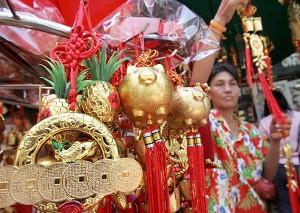 Bangkok, Thailand-Decorations symbolize the Year of Pig. (Pornchai Kittiwongsakul/AFP)